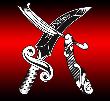 Cut throat razor n dagger free vector satansbrand 39 s t for Cut throat tattoo