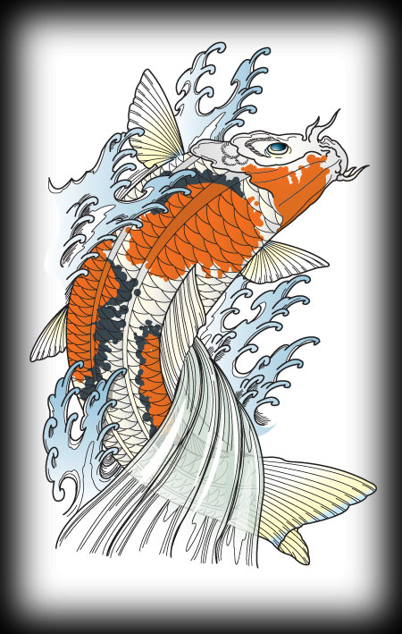 free vector koi for you all in the style of Jack Mosher Horimouja